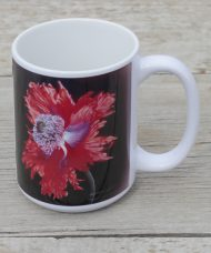 red poppy flower mug