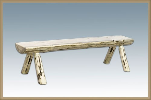 Montana Woodworks MWHLBWB6V 6 ft. Montana Half Log Bench with Back & Arms, Clear Lacquer