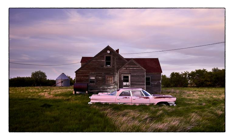 Original Automobile Photography by Dieter Klein | Documentary Art on Paper | Pink Dodge in Montana - Limited Edition 4 of 25