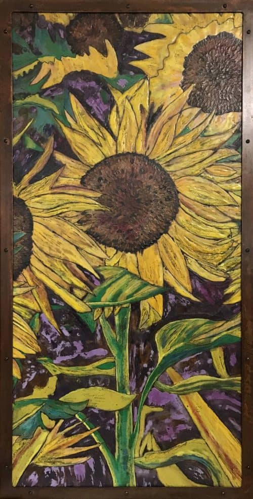 Original Floral Painting by Stacey Herries | Fine Art Art on Iron | Montana Sunflowers