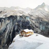 Original Landscape Painting by Tatyana Abramova | Abstract Expressionism Art on Paper | Crans-Montana, Valais