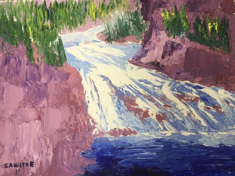 Original Nature Painting by Allen Sawitke | Impressionism Art on Other | Gibbon Falls Yellowstone National Park Montana