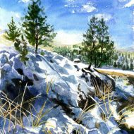 Original Seasons Painting by Ian Mcadam | Figurative Art on Paper | LeGrand Cannon Trail, Montana