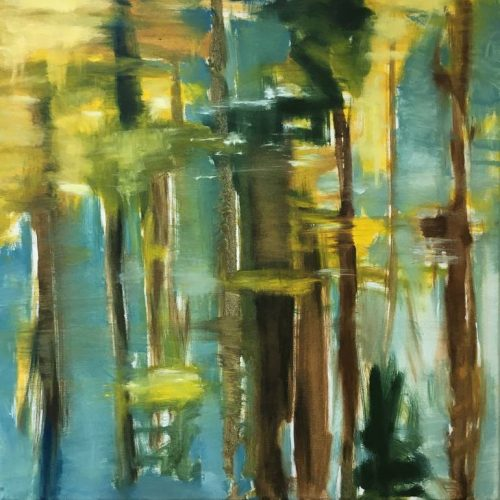 Original Water Painting by Lydia Van Der Meer | Abstract Art on Canvas | Trees and Water (Flathead Lake, Montana)
