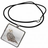 Snowy Owl on snow, Montana - Necklace with Pendant